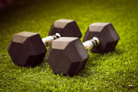 a pair of black dumbbells to do sport on grass