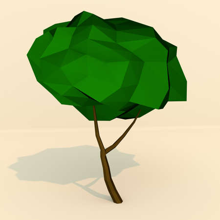 two dimensional: Low polygonal tree 3d render illustration