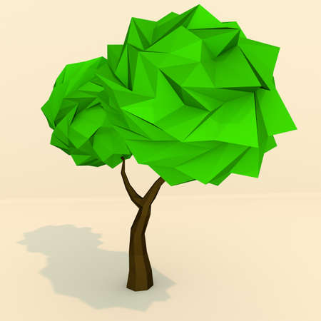 two dimensional shape: Low polygonal tree 3d render illustration