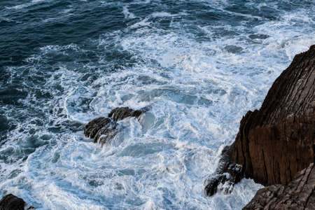The sea showing its strenght against the rocks at the coast of northern Spain.