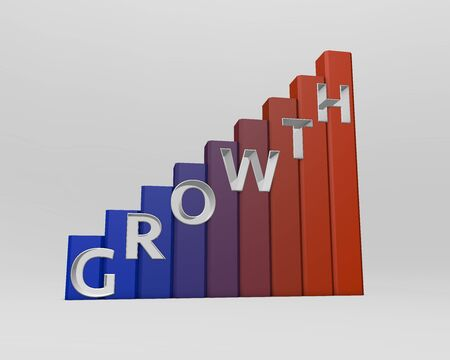 succesful: A graph with the word GROWTH encrypted on it. Stock Photo