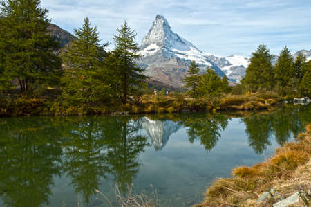 valais: Swiss-Zermatt-Grindjisee-Cervino Stock Photo