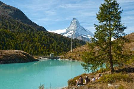 naturaleza: Swiss-Zermatt-Moosjisee-Cervino Stock Photo