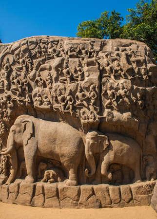 Sculpture of elephants in India