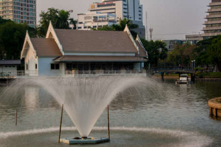 lumpini: Fountain in Lumpini park of Bangkok