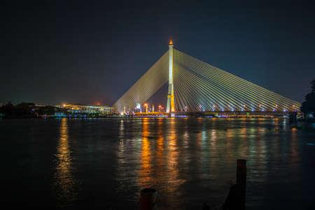 Rama 8 bridge, the famous landmark in Bangkok, Thailand.