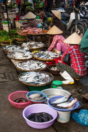 hue: Tipical vietnamese market near perfum river, Hue, Vietnam