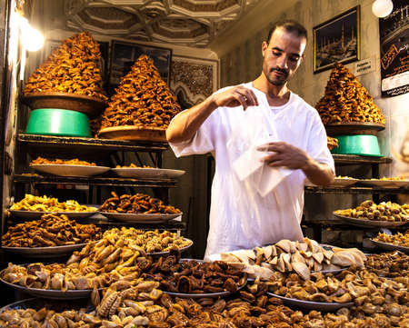 Local food seller in the Medina of Marrakech, Morocco Editorial