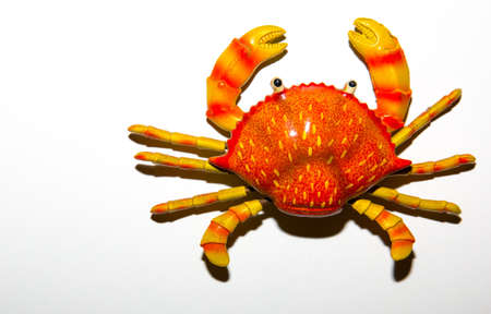 Red crab toy on white background