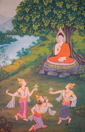 Buddhist painting detail inside Wat Chanasongkhram Ratchaworamahawihan (Wat Chana Songkhram), Bangkok, Thailand Editorial