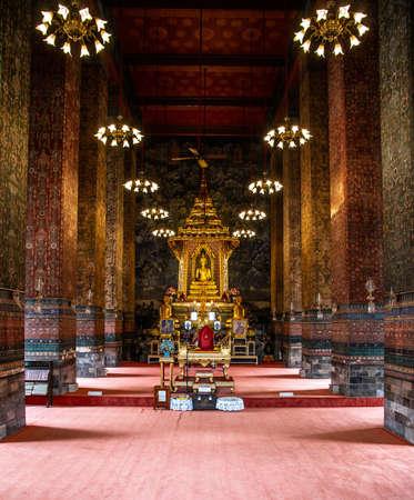 Inside Wat Makutkasatriyaram, a buddhist temple of Bangkok