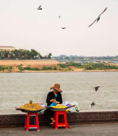 street vendor near Mekong riverfront, Phnom Penh, Cambodia