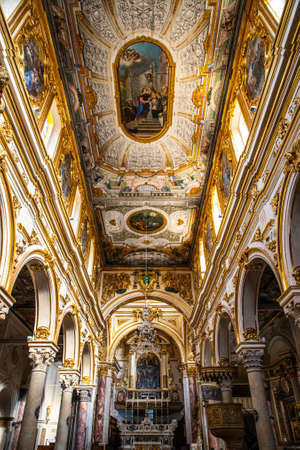 View of interior of medieval church of Madonna della Bruna and Sant'Eustachio, in the old town of the Unesco heritage city and European capital of Culture 2019, Matera Cathedral, South Italy