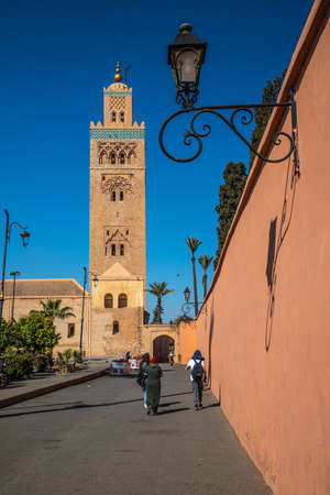 view of Koutoubia Mosque (Kutubiyya or Jami 'al-Kutubiyah Mosque) the largest mosque located in the medina quarter of Marrakesh, Morocco