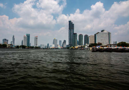 Bangkok city skyline and Chao Phraya river, Bangkok, Thailand