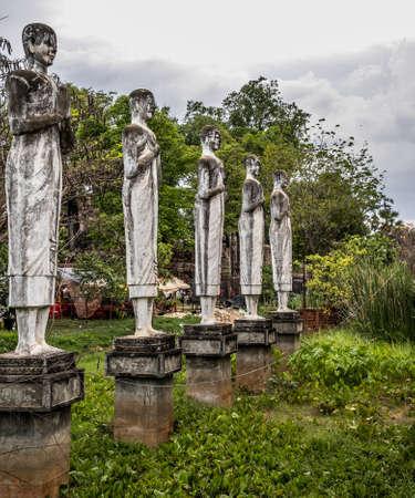 Buddha statues of the temple of Wat Ek Phnom near the city of Battambang in Cambodia
