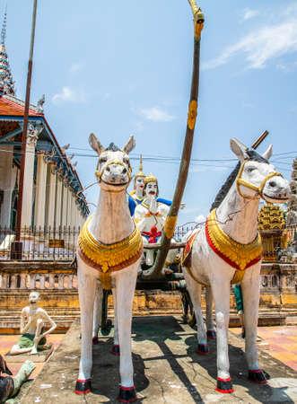 horse statues inside Wat Damrey Sar (Damrey Sor Pagoda) a buddhist temple of Battambang, Cambodia Imagens