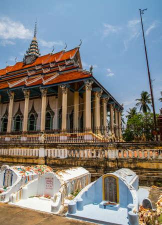 tomb inside Wat Damrey Sar (Damrey Sor Pagoda) at buddhist temple of Battambang, Cambodia