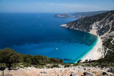 Myrtos beach on Cephalonia island, Greece Imagens