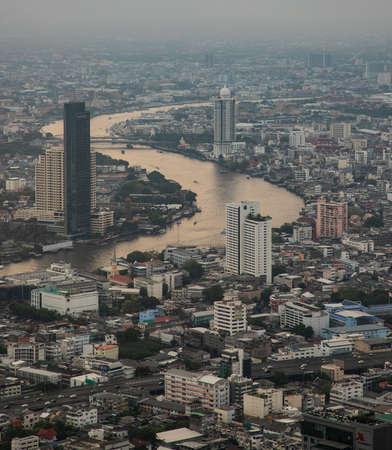 panoramic view of Chao Phraya river, Bangkok, Thailand