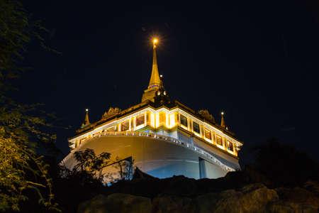 Golden mountain night view (Wat Saket), Bangkok, Thailand Editorial