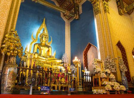 Buddha statue inside Marble Temple (Wat Benchamabophit), Bangkok, Thailand