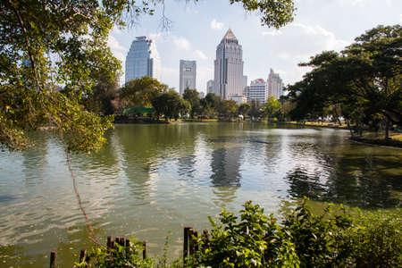 Cityscape at Lumpini park, Bangkok, Thailand Editorial