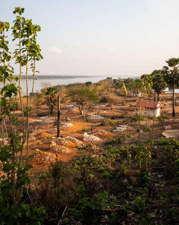 Buddhist cemetery near Wat Hanchey, a Buddhist temple near Kampong Cham city, Cambodia