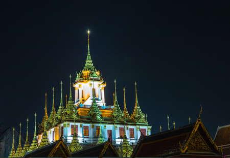 Wat Ratchanatdaram Woravihara night view (Ratcha Natdaram Worawihan - Loha Prasat), Bangkok, Thailand