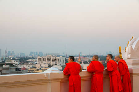 missionary Buddhism Monks of Wat Saket (Golden Mountain), Bangkok, Thailand