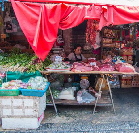 meat on sale at klong toey market, Bangkok, Thailand