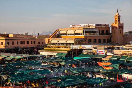 Djemaa El Fna square, Marrakech, Morocco Editorial