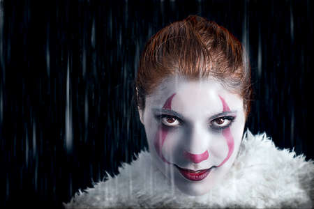Evil clown makeup portrait