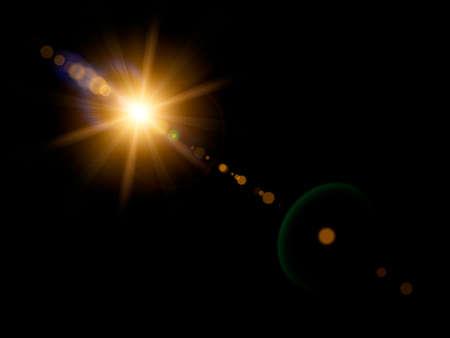 Optical lens flare on black background.