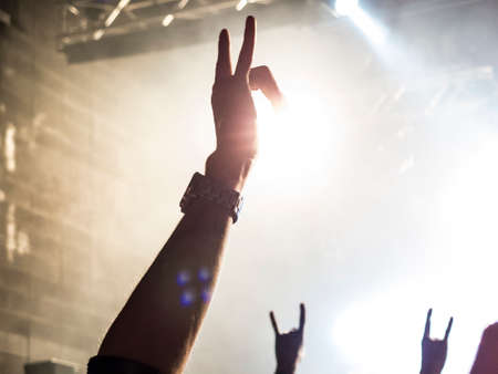 Image shot during a music festival. Light comes from a stage with a band show, people silhouettes are visible in front of it.