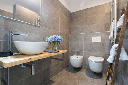 Modern stylish bathroom interior photography Stock Photo