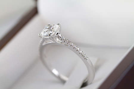 Macro shot of an engagement ring.