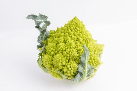 Close up on Romanesco broccoli on white background 版權商用圖片