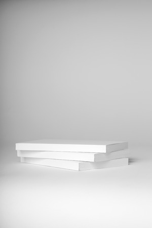 paperback: Real white paperback books stack on a gray background Stock Photo