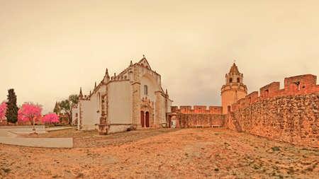 alentejo: Castle and Church in Viana do Alentejo Portugal Stock Photo