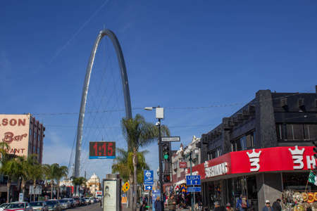 Tijuana Baja California, Mexico - January 18, 2020. view of the arch and clock from the avenida revolucion in tijuana one of the most tourist in the city