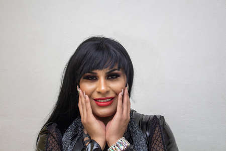 portrait of latina wearing an exotic drag queen costume. transsexual Stockfoto
