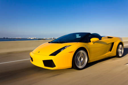 luxuries: Sport Yellow Car Stock Photo