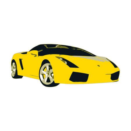 exotic car: Yellow Spor Car