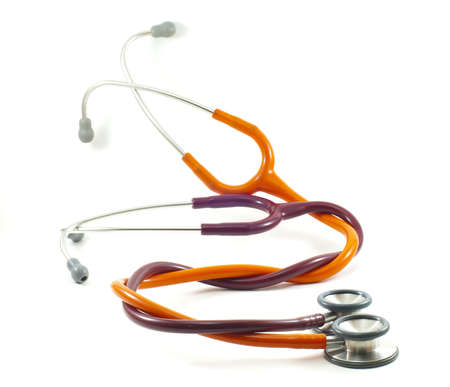 amplify: red and orange stethoscope Stock Photo
