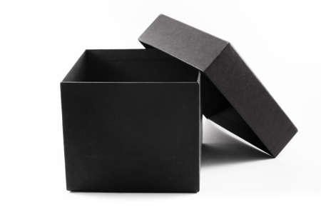 gift box open: Close-up of an open black gift box, isolated