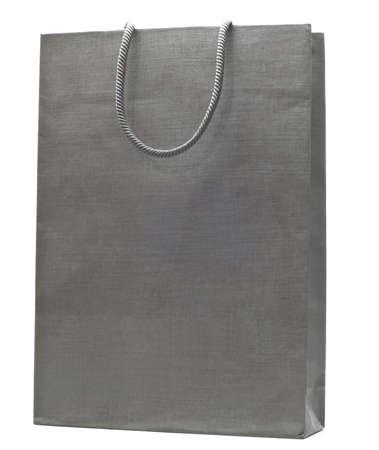 grey shopping bag isolated on white background Stock Photo - 10789367