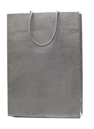 grey shopping bag isolated on white background photo