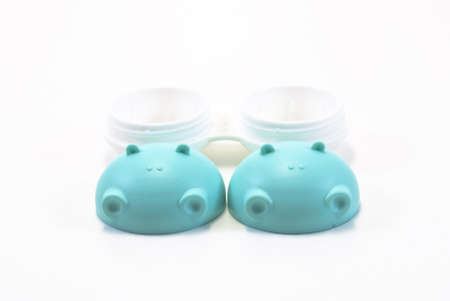 contact lenses case (hippo) isolated on a white background photo
