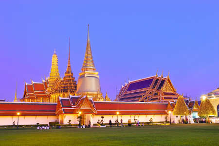 Twilight Grand Palace at dusk, the major tourism attraction in Bangkok, Thailand. photo